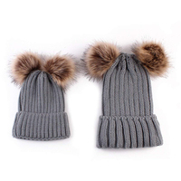 Hot Selling Family Matching Hat Winter Warm Cotton Knitting Beanie Cap For 0-3 Years Baby two balls pom pom the beanie