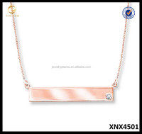 Pink Gold Plated Bar Necklace Pure Sterling Silver Beautful Women Necklace