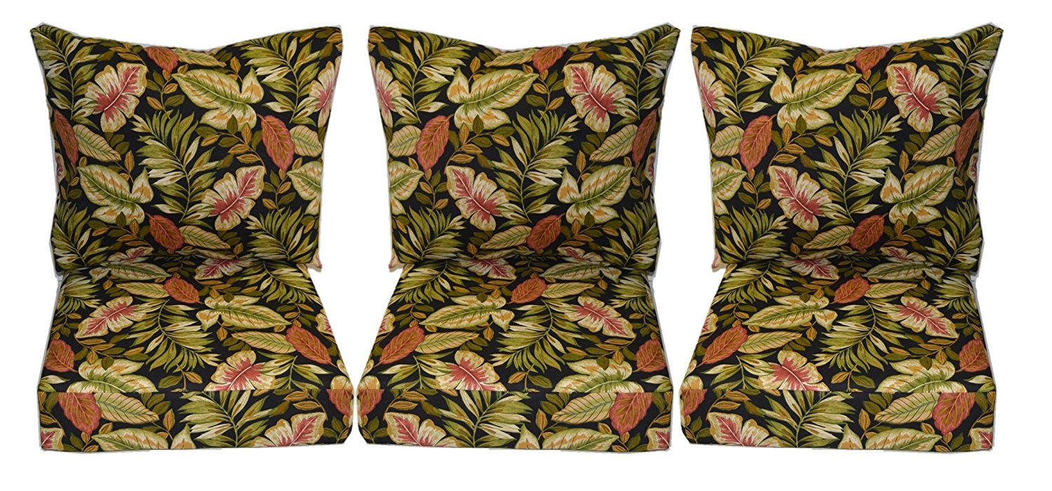 """Indoor / Outdoor Twilight Black, Green, Burgundy Tropical Palm Leaf Cushion Sets for Patio Deep Seating Furniture Sofa / Couch - Choice of Size (SEAT CUSHION - 24"""" W X 27"""" D)"""