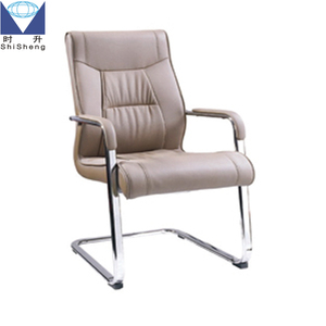 Popular Black Leather Sled Base Working Chairs with Arms