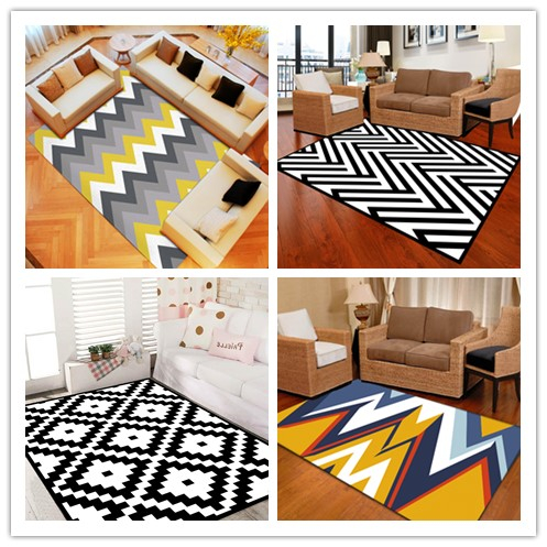 Home Textile China Wholesale Area Rugs Non-slip Kilm Black and White Geometry OEM Design Carpet For Home Hotel