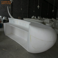 Fiberglass large front desk sculptural design mold information table for business center