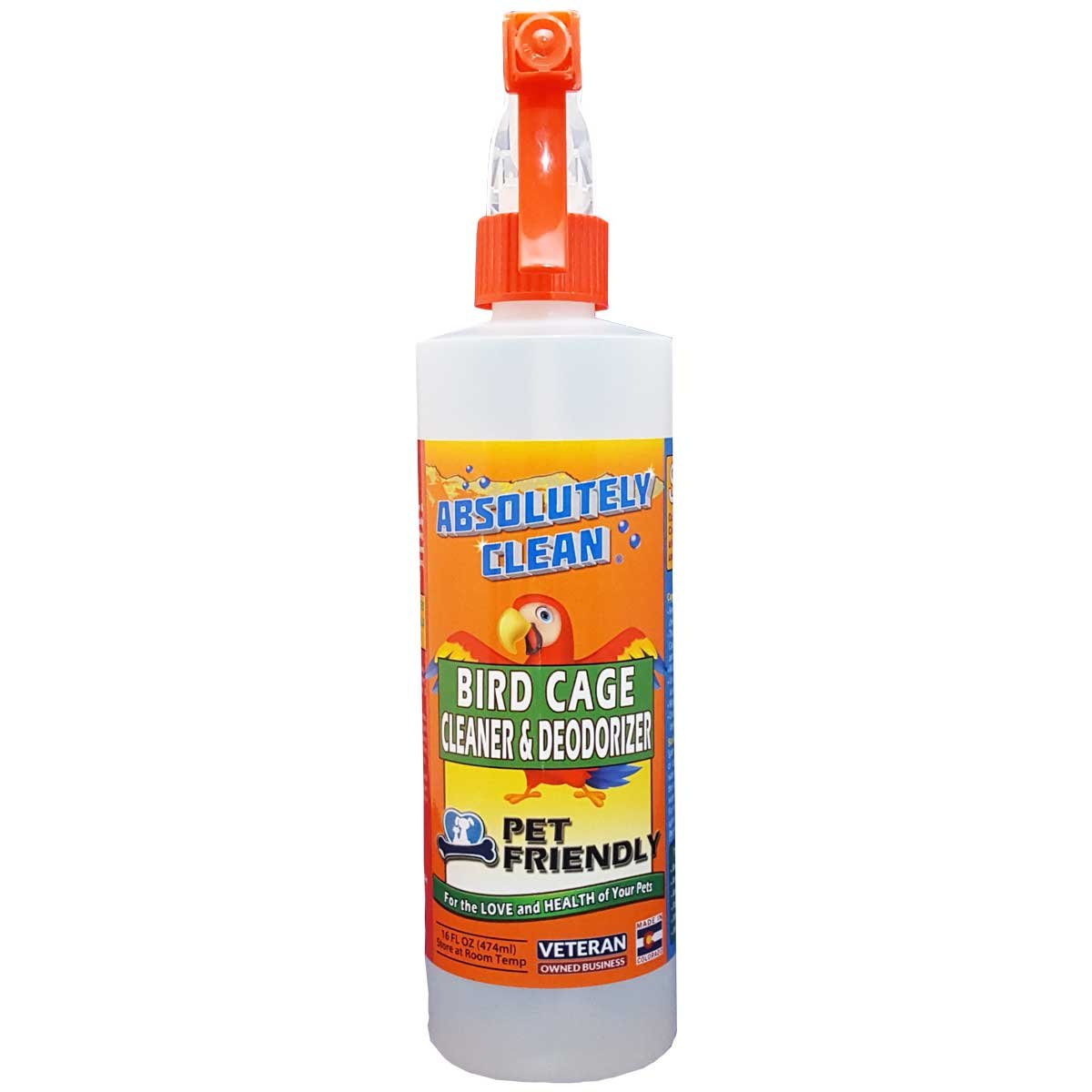 Absolutely Clean Amazing Bird Cage Cleaner and Deodorizer - Just Spray/Wipe - Safely & Easily Removes Bird Messes Quickly and Easily - Veterinarian Approved - Made in the USA