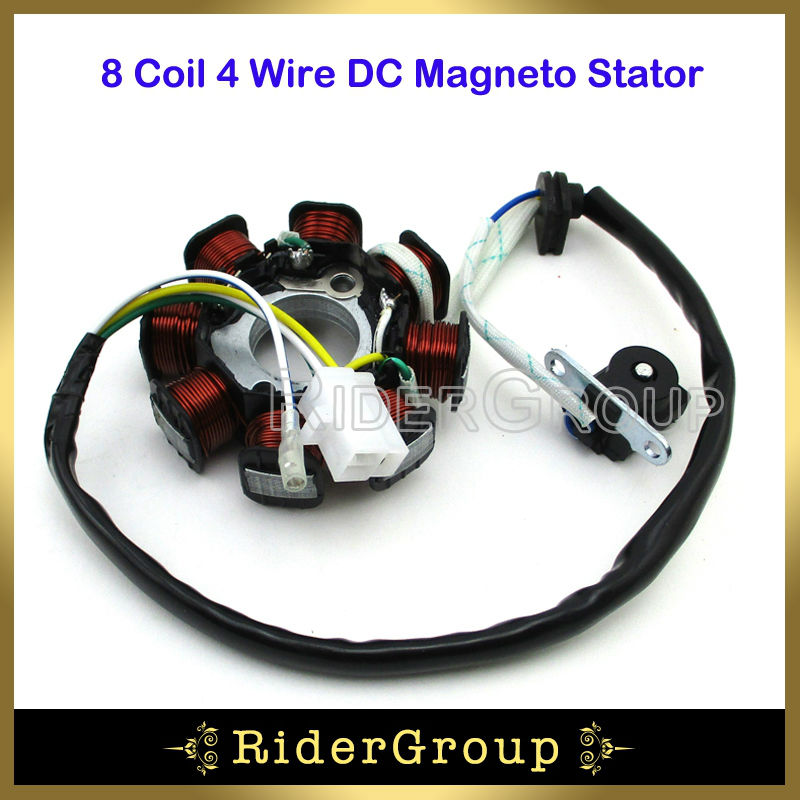 gy6 dc magneto stator 8 coil poles 4 wire for chinese 50cc ... 8 pole stator wiring 8 pole motor diagram wiring schematic