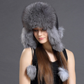 Bomber Hats Of Winter For Women With Ball Real Fox Fur Flat Caps Female Trendy 2016