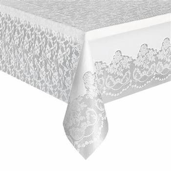 Plastic White Lace Table Cover Party Accessory 54x108 Tablecloth for Wholesale