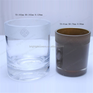 High quality Crystal thick wall glass candle jars for wedding centerpieces