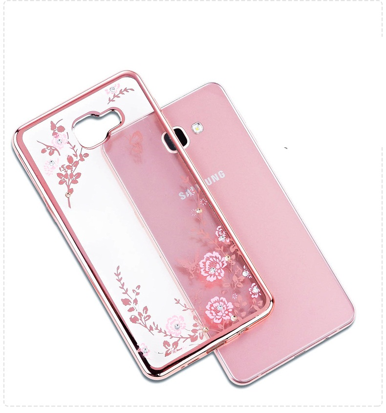 For GALAXY C5 C7 C9 PRO A810 GRAND PRIME G530 Bling Diamond Electroplate Frame TPU Case Secret Garden Flower