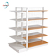 Commercial equipment 4 layer steel grid shop shelves with wood steel plate