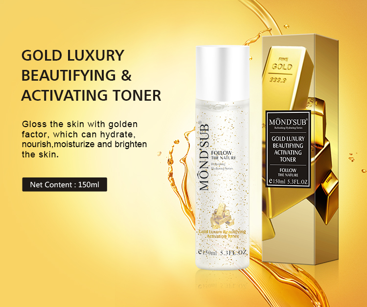 Mond'sub Oem Odm Private Label  Gold Luxury Beautifying And Activating Rose Water Toner For Skin