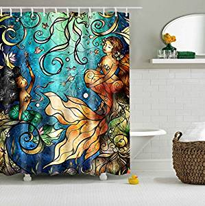 Jessie&Letty Waterproof Shower Curtain With World Map Mermaid Flag Sea Wave Lego 165 cm X 180 cm (Mermaid)