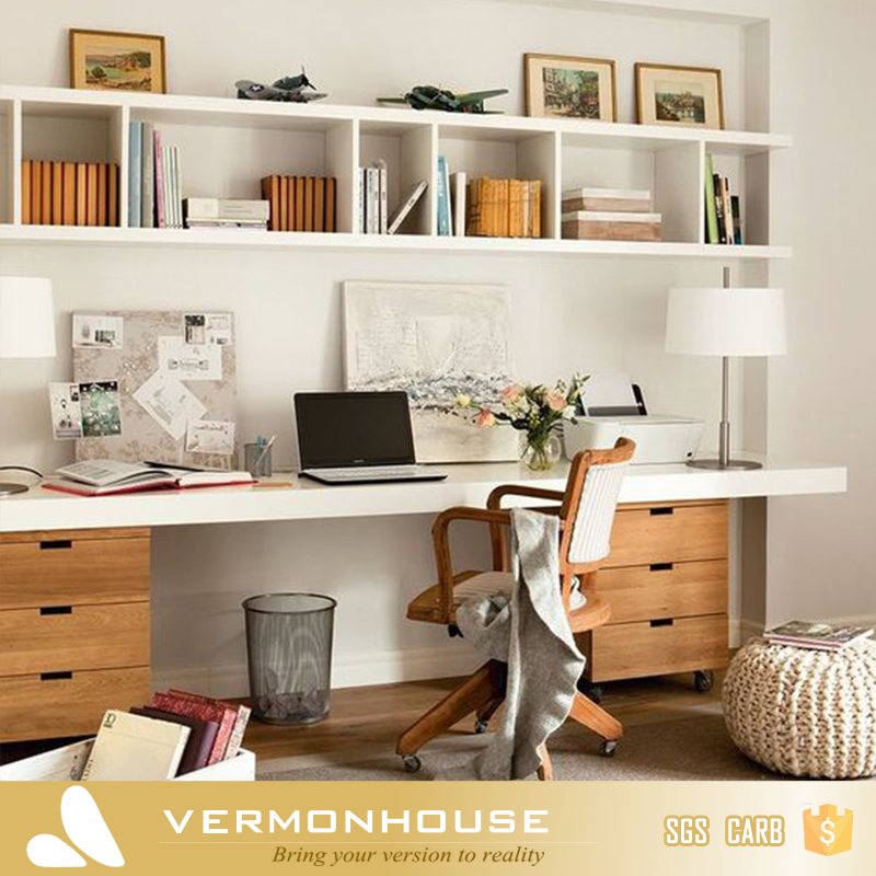 2018 Hangzhou Vermont Modern Design Movable Bookcase Shelf Cabinet With Study Table