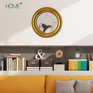 Modern luxury made in china design gold wooden decorative wall mirror