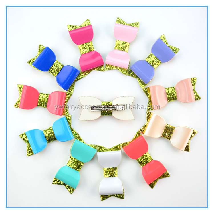 2017 Latest leather children hair accessories kids sparkle sequin bow hair clip