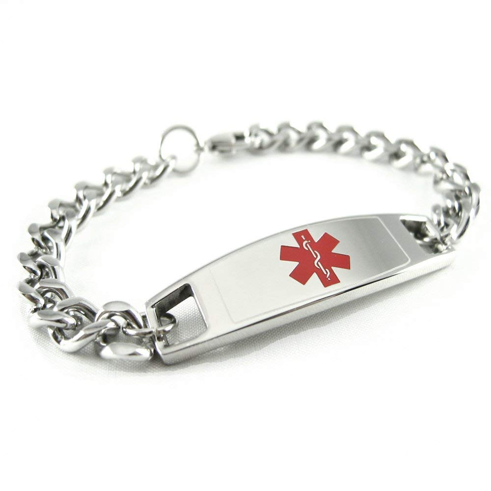 Pre-Engraved /& Customized Hypertension Medical Bracelet Black//White Millefiori Glass Pattern Red My Identity Doctor
