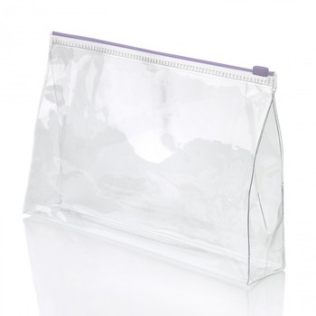 Simple Waterproof Clear White Stand Up Pvc Makeup Bag Reusable Frosted Ziplock Cosmetic