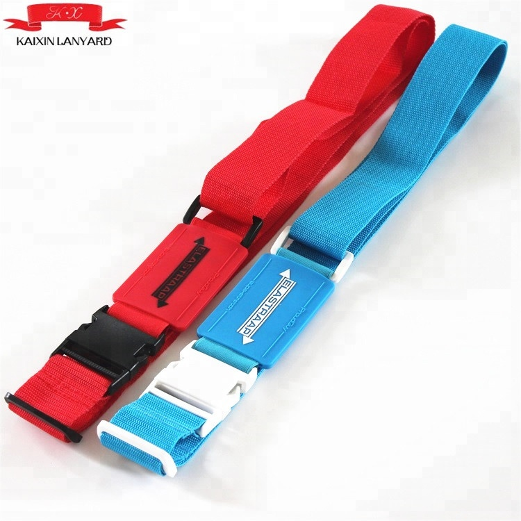 Custom New product polyester adjustable Luggage Strap belt with silicone logo parts