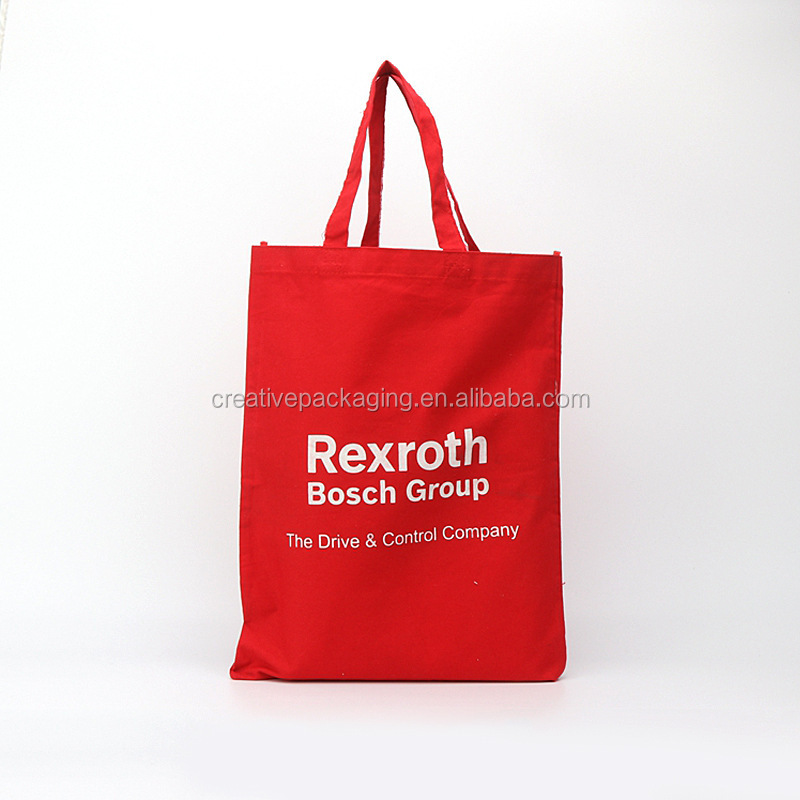 Custom printed red cotton promo bag with logo