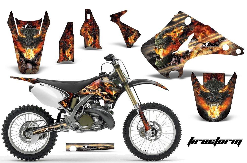 Kawasaki KX125 KX250 2003-2016 MX Dirt Bike Graphic Kit Sticker Decals KX 125 250 FIRESTORM BLACK