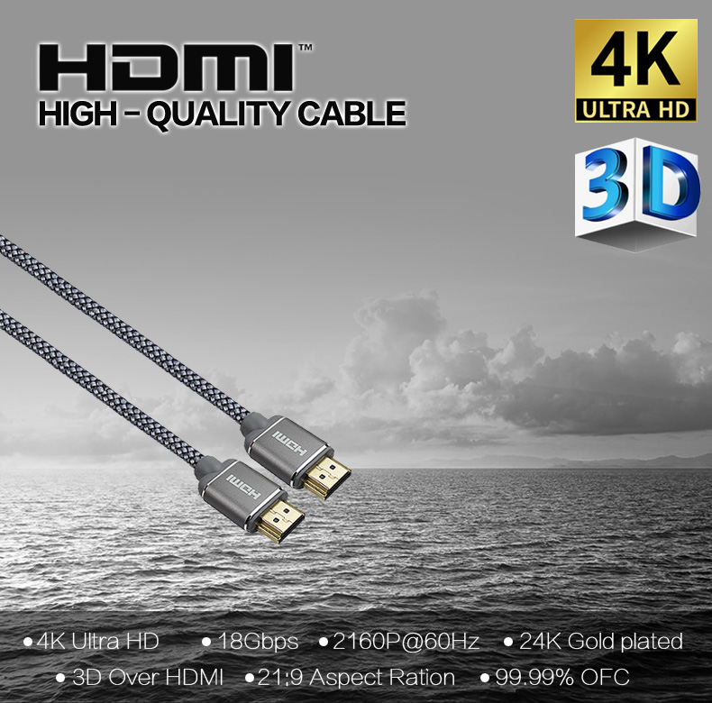 High Speed19PIN 4K 60Hz with Aluminum Casing Nylon Mesh Braided 2160P YUV4:4:4 18Gbps  HDR CEC HDMI  cable