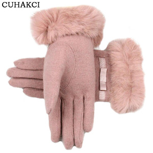 Winter Elegant Cashmere Warm Mittens Female Bowknot Genuine Rabbit Fur Soft Woolen Ladies Wrist Gloves