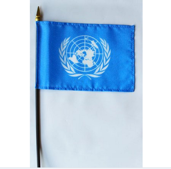 "United Nations - 4"" x 6"" World Stick Flag / UN hand flag"