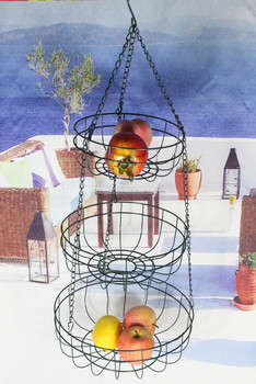58-7CC 3-tier metal wire hanging fruit basket rack with powder coated