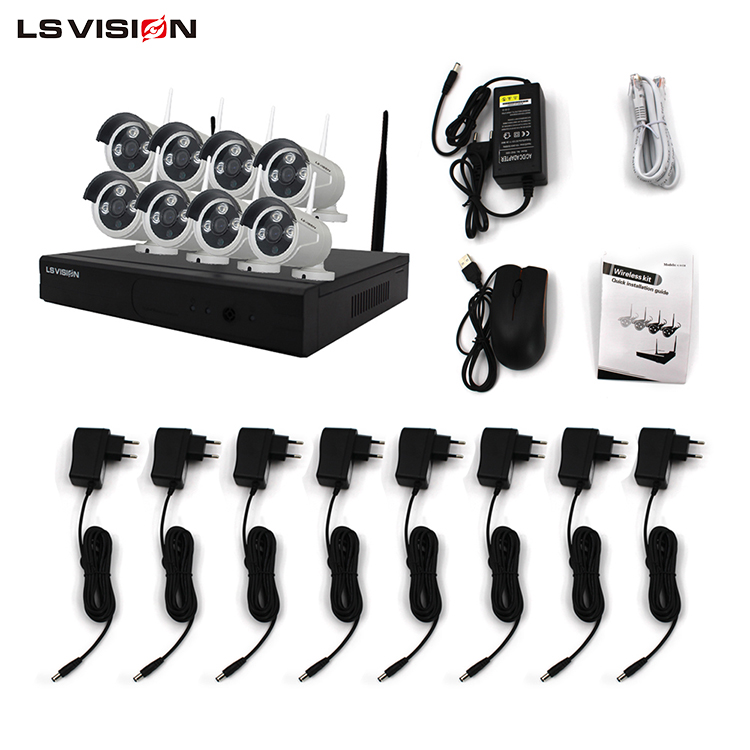 LS VISION Office and Home Use 960P 8ch CCTV Wifi NVR Kits,Wireless 8 ch Wifi Home System