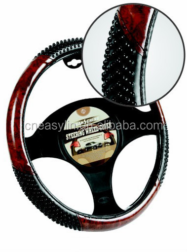 PVC wooden bead steering wheel cover, Hot Promotion wheel cover item