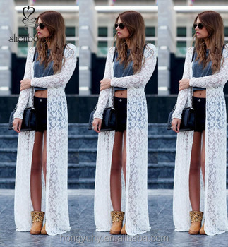 fde27672ac97 m40763 miglior prezzo lungo in pizzo overlay cardigan bianco maxi pizzo  abiti kimono da dongguan