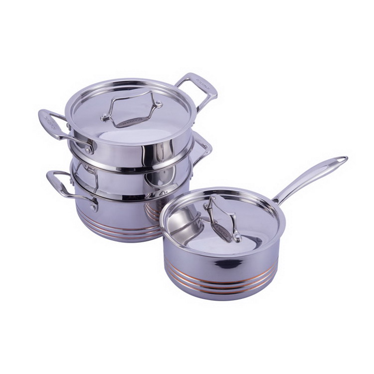 Professional 5 Ply All Clad Induction Copper Steamer Soup Cooking Pot