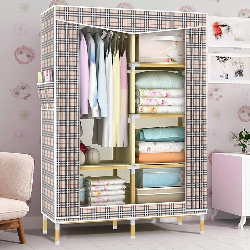 Get Quotations Hhaini Portable Wooden Wardrobe Rack With Shelves Heavy Duty Double Closet Armoire For Bedroom