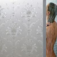 Heavy embossed flower pattern bathroom shower glass privacy decorative frosted window film
