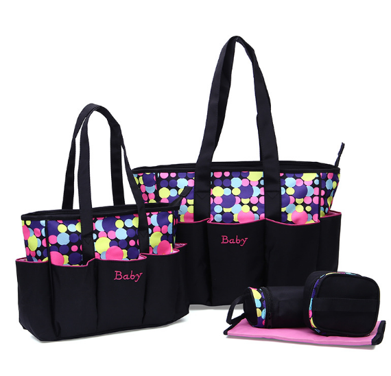 Osgoodway2 Fashion Printed Dot Pattern Mummy Baby Tote Travel Bag 5pcs Diaper Bag Set