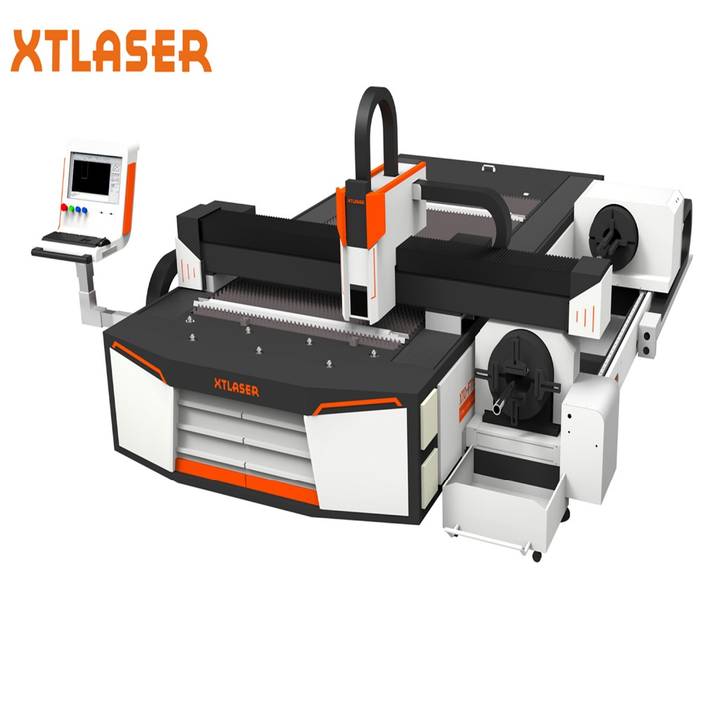 Round Metal Tube Fiber Laser Cutting Machine from jinan XT laser with 2 years warranty