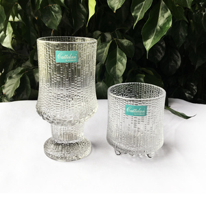 Unique rock surface footed wine drinking glass tumbler cups for brandy