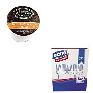 KITDXEFH207GMT7522CT - Value Kit - Green Mountain Coffee Roasters Breakfast Blend Decaf Coffee K-Cups (GMT7522CT) and Dixie Plastic Cutlery (DXEFH207)