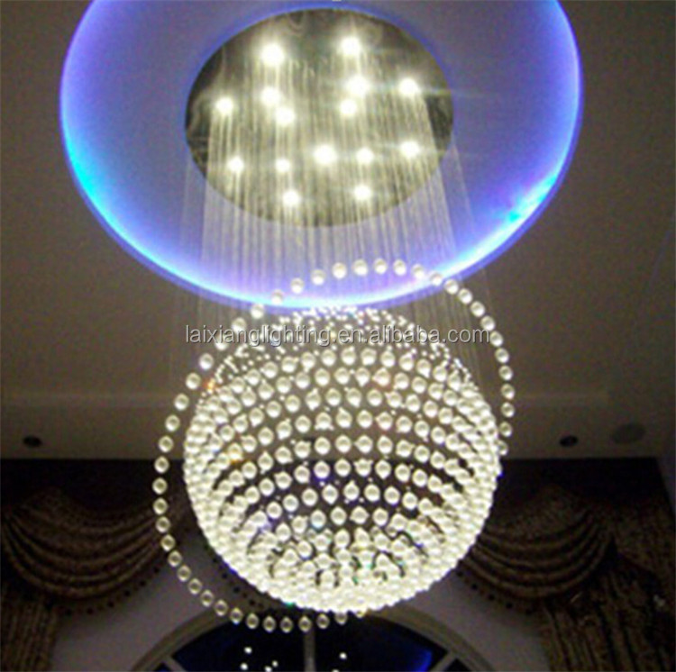 Hot!!! multi-function remote control crystal ball chandeliers with crystal fiber optic pendant light