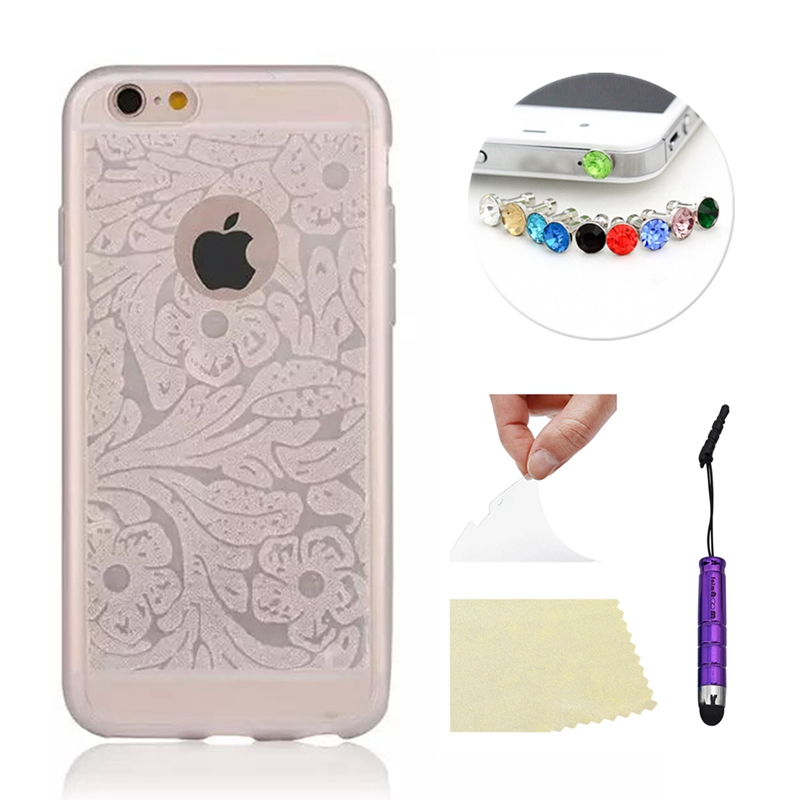 Case for Apple iPhone 6 4.7 For iPhone6 Plus 5.5 Cover Bling Flower Pattern Ultra-thin Soft TPU Back Case Protective Shell+Gifts
