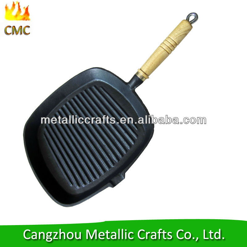 Pre - seasoned square Cast Iron Grill Pan with Wooden Handle