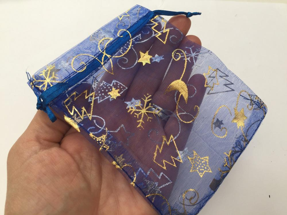 Wholesales blue and gold christmas organza candy gift bags