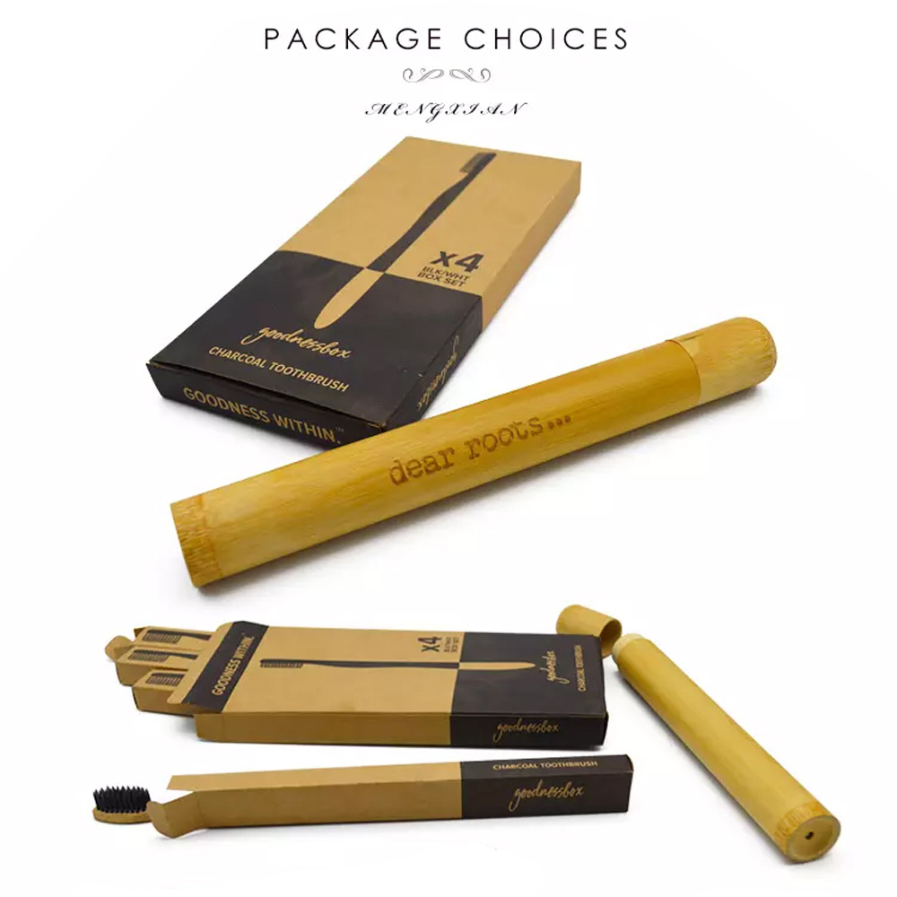 Bamboo Toothbrush Package Biodegradable Toothbrush Handle Soft Bristle Toothbrush BPA Free with Free Kraft Paper