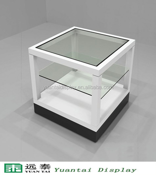 Small White Glass Display Case Showcase Unit For Watches Retail Shop