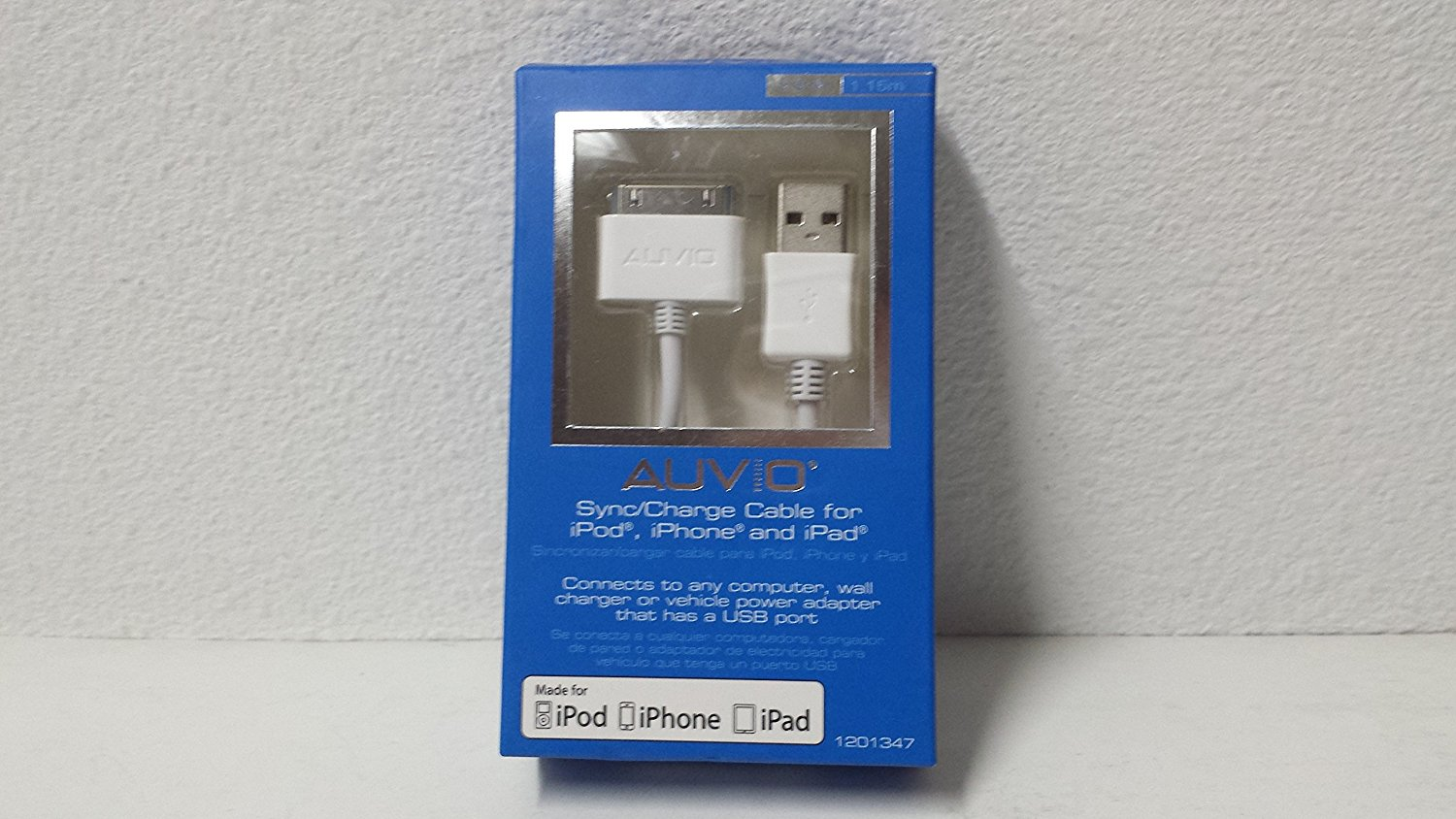 Auvio 3.8-Foot iPod/iPad/iPhone 30-Pin Sync Cable (White)