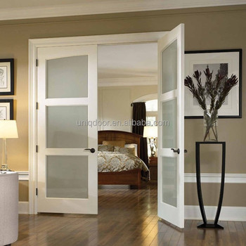3 Panel French Doors Modern Privacy Glass Panel Interior Bedroom