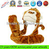 Cute plush faux fur animal hat cartoon cap winter hat with long mittens