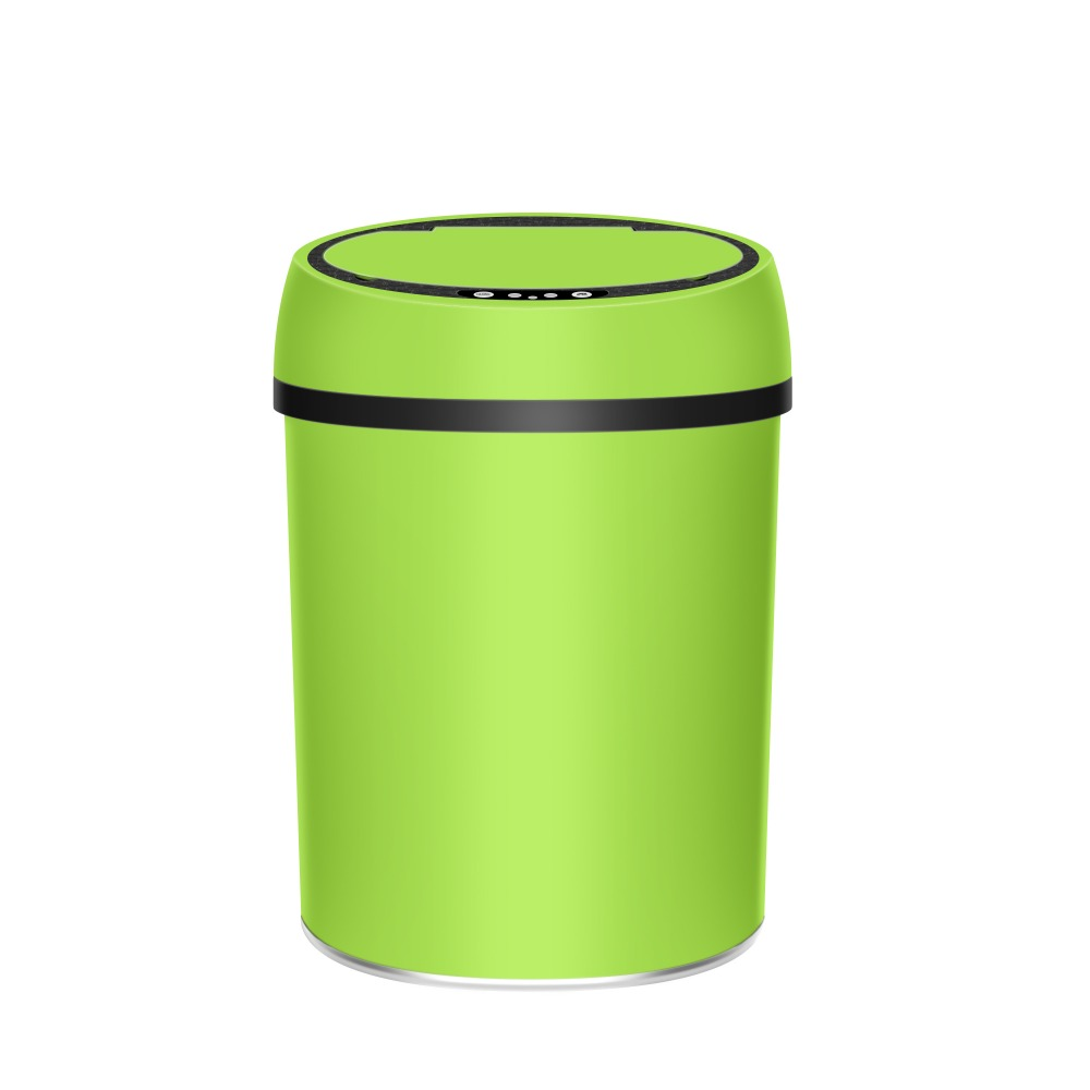9L Green Nice design colorful sensor trash Stainless steel plastic waste bin