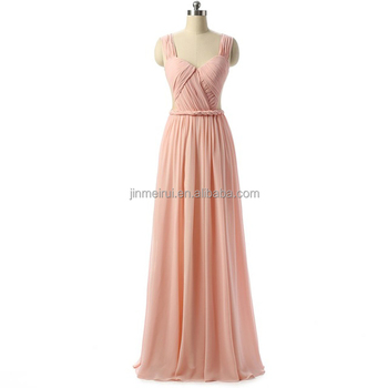 Sexy Backless Pink Chiffon Evening Dresses Long 2017 Fast Shipping Pleats A-line Spaghetti Strap Prom Dress Bridesmaid Dresses