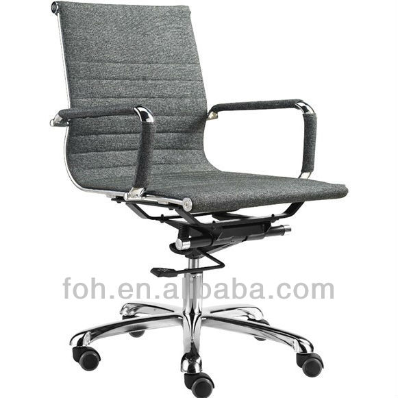 Charles Low Back Ribbed Grey Fabric Office Computer Chair Swivel (FOH-F15-B Office Chair)