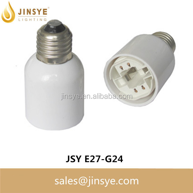 White color Lamp Bases E27 to G24 adapter converter e27 lamp socket